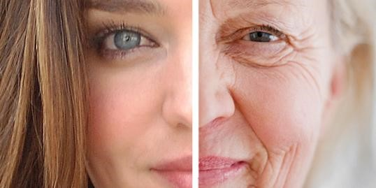 1/2 youthful face and 1/2 elderly face, juxtaposed