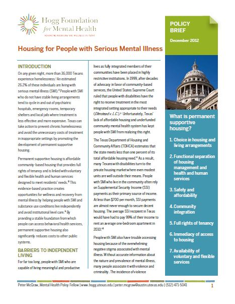 Housing For People With Serious Mental Illness Hogg Foundation