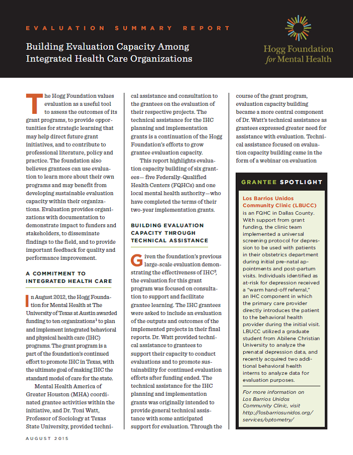 Building Evaluation Capacity Among Integrated Health Care Organizations