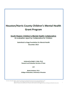 South Region Children's Mental Health Collaborative evaluation frontpage